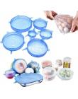 6 sztuk/zestaw silikonowe Stretch uniwersalny pokrywy żywności owoców Wrap miska Pot pokrywka silikonowa pokrywa Pan gotowania n