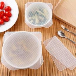 4 sztuk wielokrotnego użytku silikonowe jedzenie świeże utrzymanie Stretch Wrap Seal Film pokrywa misy do przechowywania w domu