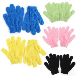 1 para prysznic rękawice kąpielowe złuszczający peeling mycia skóry Spa masażu peeling rękawica peelingująca rękawic 9 kolory (l