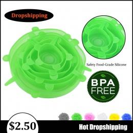 Dropshipping 6 sztuk silikonowe Stretch pokrywy żywności miska garnek pokrywa Pan uniwersalny pokrywka silikonowa do naczyń kuch