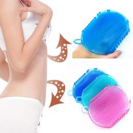 1 sztuk miękkiego silikonu masaż Peeling rękawice do obierania szczotka do kąpieli ciała złuszczający rękawice Footbrush dla szc