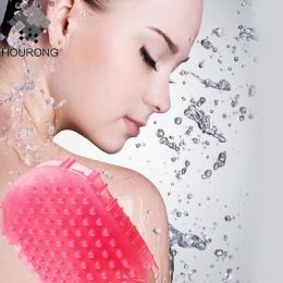 1 PC silikonowy złuszczający szczotka do szorowania do kąpieli peeling rękawice Spa z powrotem rękawice kąpielowe złuszczania sz