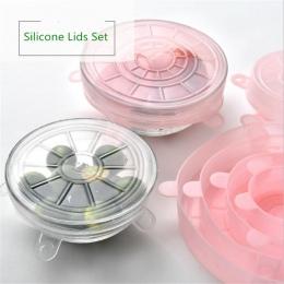 Praktyczne uniwersalne silikonowe okrągłe pokrywki na pojemniki odporne na wysokie i niskie temperatury kolor zielony różowy
