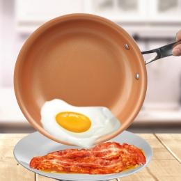 Nieprzywierająca patelnia miedź czerwony Pan ceramiczna indukcyjna patelnia patelnia patelni sejf na piekarnik i zmywarkę 10 cal