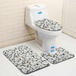 3 sztuk dywan zestaw łazienka 3D kamień drukowanie antypoślizgowa mata do kąpieli łazienka kuchnia dywan wycieraczki Decor deska