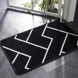 Honlaker mata do kąpieli czarny i biały klasyczny wzór geometryczny Super miękkie chłonne łazienka drzwi mata antypoślizgowa dyw