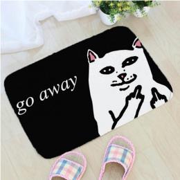 Cartoon zwierząt Cat Go Away drukowanie mata do kąpieli flanelowe wzór łazienka antypoślizgowe maty Home Decor drzwi maty wycier