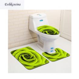 Darmowa wysyłka 3 sztuk zielony kwiat Banyo dywan łazienkowy toaleta U typ maty do kąpieli zestaw antypoślizgowa Pad Tapis Salle