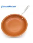 Sweettreats Round non-stick patelnia z miedzi z powłoką ceramiczną i indukcyjną, sejf na piekarnik i zmywarkę