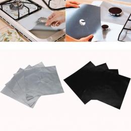 4 sztuk wielokrotnego użytku kuchenka gazowa kuchenka Top Burner Protector pokrywa Liner do czyszczenia teflonowe płyta gazowa P
