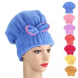 Z mikrofibry szybkie włosy suszarka do kąpieli Spa Bowknot ręcznik kapelusz czapka do kąpieli akcesoria łazienkowe