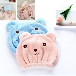Słodkie niedźwiedź czapka z daszkiem dla kobiet do kąpieli włosy owinięte ręczniki z mikrofibry prysznic kapelusze czapki szybko