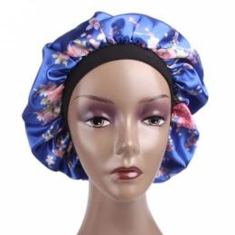 Kobiety Satin noc Salon kosmetyczny snu pokrywa włosy kapelusz maski jedwabiu głowy szeroki gumką dla kręcone sprężyste włosy cz