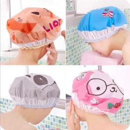 Cute Cartoon wodoodporna prysznic toaletowy czapki pyłu ochrona środowiska koronkowa elastyczna opaska kapelusz chłopiec dziewcz