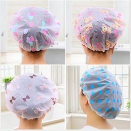 1 PC kolor losowo Dot wodoodporny prysznic czapka z daszkiem zagęścić elastyczne kąpiel kapelusz czepek kąpielowy dla kobiet wło