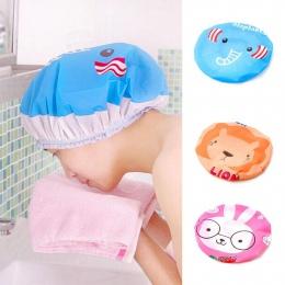 Kid Cartoon Cute Animal Print prysznic czepek kąpielowy Salon wodoodporny do włosów kapelusz łazienka produkty