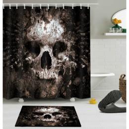 Straszny zardzewiały zgniłe czaszki Halloween zasłona prysznicowa i zestaw mat do kąpieli wodoodporna tkanina poliestrowa łazien