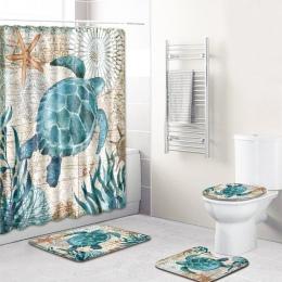 4 sztuk/zestaw żółwie drukowane wzór zasłona prysznicowa stojak na podłodze pokrywy wc mata zestaw Mat do kąpieli łazienka zasło