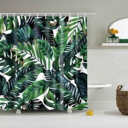 Naturalny wzór ananas/kwiat/liść poliester zasłony prysznicowe zmywalny wysokiej jakości kolorowe zasłony do łazienki prysznic