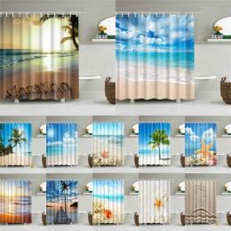 Wysokiej jakości plaża morze powłoki drukowane zasłony prysznicowe wanna do kąpieli kurtyny ekranu produkty wodoodporne wystrój