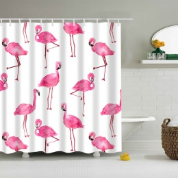 Flamingo zwierząt pies Hippo kot poliester różowy zasłona prysznicowa wysokiej jakości zmywalna Decor kolorowe zasłony do łazien