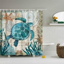 Urijk żółw morski drukuj wodoodporny prysznic kurtyna tkanina poliestrowa zasłona wanny Octopus Home łazienka zasłony z 12 hakam