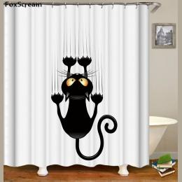 Kot wanna prysznic zasłony śmieszne Star przestrzeń wodoodporna kot zasłony prysznicowe łazienka kurtyna tkanina łazienka zasłon