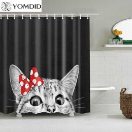 Cute Cat 3D zasłona prysznicowa z nadrukiem Cartoon zwierząt tkanina poliestrowa wanna zasłona do łazienki kurtyna dekoracyjna z