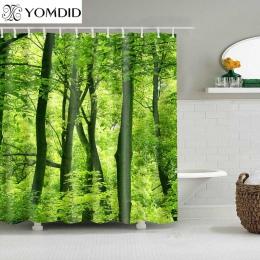 1 PC zielony tropikalne rośliny zasłony prysznicowe do łazienki tkanina poliestrowa zasłona prysznicowa liście drukowania malown