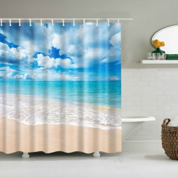 Sunshine Beach wodoodporny prysznic zasłony poliester tkaniny wysokiej jakości łazienka zasłony odporna na pleśń niewidomych do