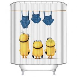 Żółty prysznic zasłony psotnych sługusów serii zasłony prysznicowe zasłona wanny poliester wodoodporna łazienka zasłona prysznic