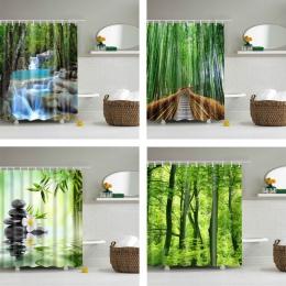 Las drzewa drukowane 3d wanna zasłony wodoodporna tkanina poliestrowa zmywalny łazienka zasłona prysznicowa ekran z hakami akces