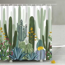 Tropikalne rośliny kaktus drukuj prysznic zasłona do łazienki wodoodporna wanna zasłony poliester zielona kurtyny 180*180 cm 1 P