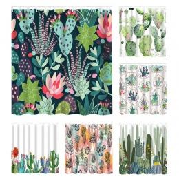 Urijk 180*180 cm wodoodporny prysznic zasłona do łazienki tropikalne rośliny kaktus drukuj wanna zasłony poliester zielona kurty