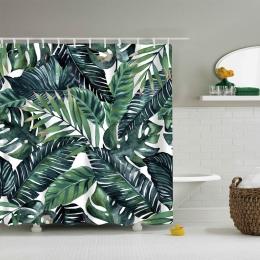 Hoomall 1 PC kwiatowy zasłona prysznicowa kolorowe tropikalne rośliny poliester wodoodporne zasłony do kąpieli Home Decor Cortin
