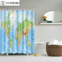 Inny świat mapa wzór prysznic zasłony drukowane łazienka zasłony prysznic ściany wiszące mapa kurtyny mapa świata zasłony pryszn