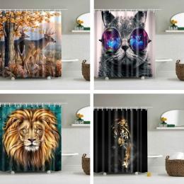 Zwierzęta drukowane lew, tygrys, kot 3d wanna zasłony wodoodporna tkanina poliestrowa zmywalny łazienka zasłona prysznicowa ekra
