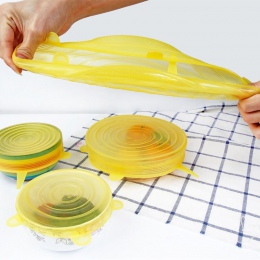 6 sztuk wielokrotnego użytku krzemu stretch pokrywkami uniwersalna pokrywa silikonowa bariera ochronna do żywności miska pokrywk