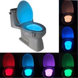 Inteligentny toaleta wc lampka nocna LED ruchu ciała włączanie/Off lampa z czujnikiem na muszlę 8 wielokolorowy lampa toaletowa