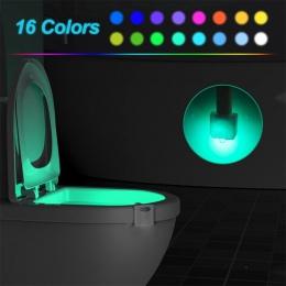 16/8 kolory inteligentny wykrywania ciała czujnik ruchu LED lampa nocna miska WC łazienka podświetlenie do awaryjnego WC deska k