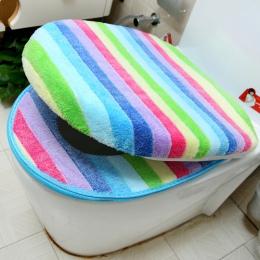 Sedes do łazienki pokrywa zestaw zagęścić miękki, koralowy, aksamitny kolor tęczy na zamek błyskawiczny WC ciepłe wodoodporne WC