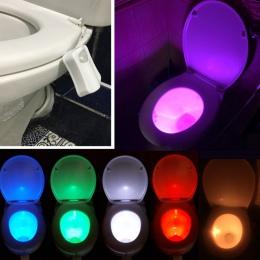 Washroom łazienka inteligentny wc lampka nocna LED ruchu ciała włączanie/Off lampa z czujnikiem na muszlę 8 wielokolorowy lampa