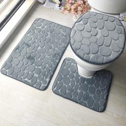 3 sztuk komplet dywaników łazienkowych tłoczenie flanelowe dywaniki podłogowe poduszka deska klozetowa pokrywa łazienka mata WC