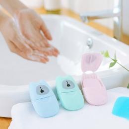 50 sztuk/partia przenośne mycia chusteczki do rąk do kąpieli podróżne pachnące plastry arkusze piankowe pudełko papierowe mydło