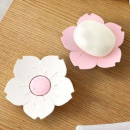 Opróżniania kwiat wiśni mydelniczka mydło pole płyta kwiat kwiat wiśni mydło z tworzywa sztucznego uchwyt skrzynki