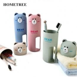 HOMETREE przenośny podróży zestaw kubek na szczoteczki do zębów pudełko do przechowywania domu niedźwiedź organizator pasta do z