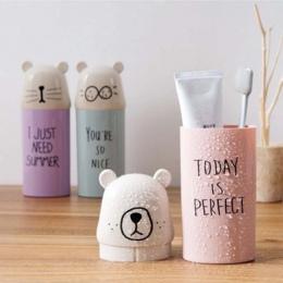 Przenośny zestaw podróżny kubek na szczoteczki do zębów pudełko do przechowywania domu niedźwiedź organizator pasta do zębów szc