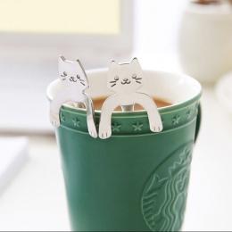 1 sztuka śliczne kot łyżka długi uchwyt łyżki sztućce narzędzia do picia gadżet kuchenny ze stali nierdzewnej łyżka do kawy 10.9