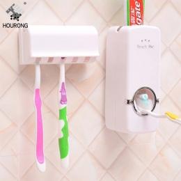 Hourong 1 zestaw automatyczny dozownik pasty do zębów szczoteczka do zębów schowek organizator wieszak montażu na ścianie wanna