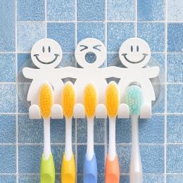 Łazienka przyssawki 5 pozycji szczoteczka do zębów uchwyt stojak do montażu na ścianie śmieszne uśmiechnięta twarz do zębów szcz